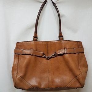 COACH- Camel Tan Leather Hampton Satchel Bag